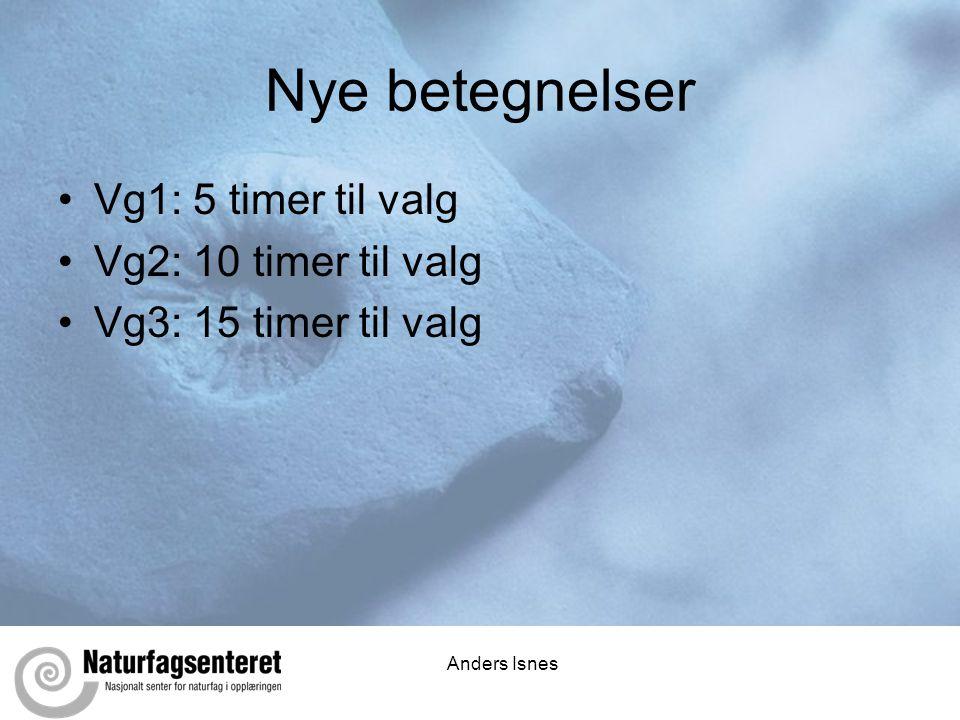 Anders Isnes Nye betegnelser •Vg1: 5 timer til valg •Vg2: 10 timer til valg •Vg3: 15 timer til valg