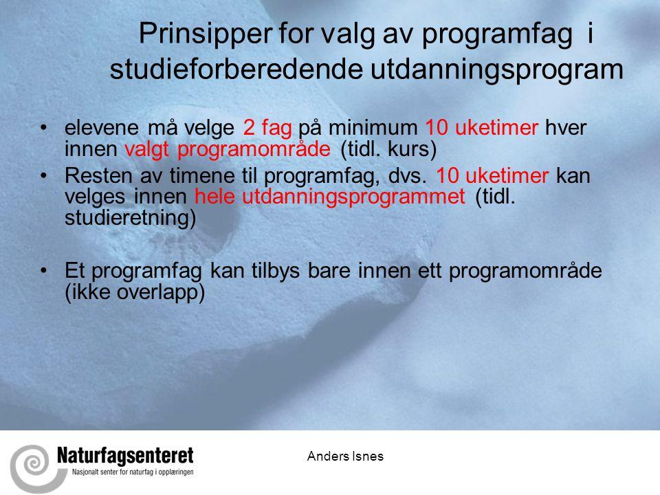 Anders Isnes Prinsipper for valg av programfag i studieforberedende utdanningsprogram •elevene må velge 2 fag på minimum 10 uketimer hver innen valgt programområde (tidl.