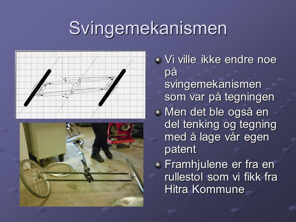 Svingemekanismen Vi ville ikke endre noe på svingemekanismen som var på tegningen Men det ble også en del tenking og tegning med å lage vår egen paten