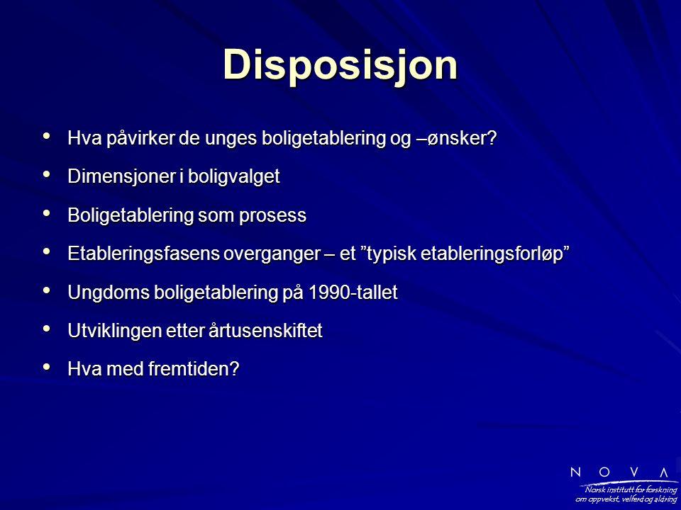 Norsk institutt for forskning om oppvekst, velferd og aldring Disposisjon • Hva påvirker de unges boligetablering og –ønsker.