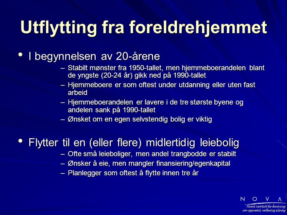 Norsk institutt for forskning om oppvekst, velferd og aldring Utflytting fra foreldrehjemmet • I begynnelsen av 20-årene –Stabilt mønster fra 1950-tallet, men hjemmeboerandelen blant de yngste (20-24 år) gikk ned på 1990-tallet –Hjemmeboere er som oftest under utdanning eller uten fast arbeid –Hjemmeboerandelen er lavere i de tre største byene og andelen sank på 1990-tallet –Ønsket om en egen selvstendig bolig er viktig • Flytter til en (eller flere) midlertidig leiebolig –Ofte små leieboliger, men andel trangbodde er stabilt –Ønsker å eie, men mangler finansiering/egenkapital –Planlegger som oftest å flytte innen tre år