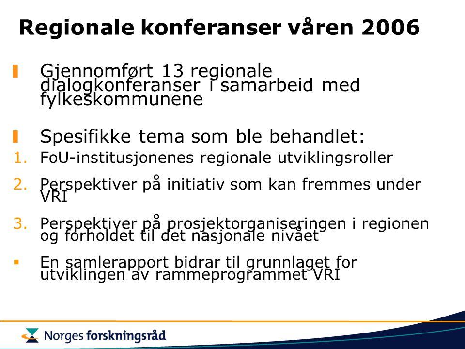 Regionale konferanser våren 2006 Gjennomført 13 regionale dialogkonferanser i samarbeid med fylkeskommunene Spesifikke tema som ble behandlet: 1.FoU-i