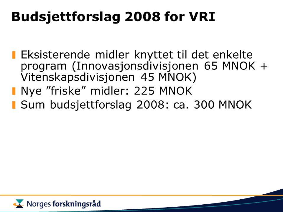 """Budsjettforslag 2008 for VRI Eksisterende midler knyttet til det enkelte program (Innovasjonsdivisjonen 65 MNOK + Vitenskapsdivisjonen 45 MNOK) Nye """"f"""