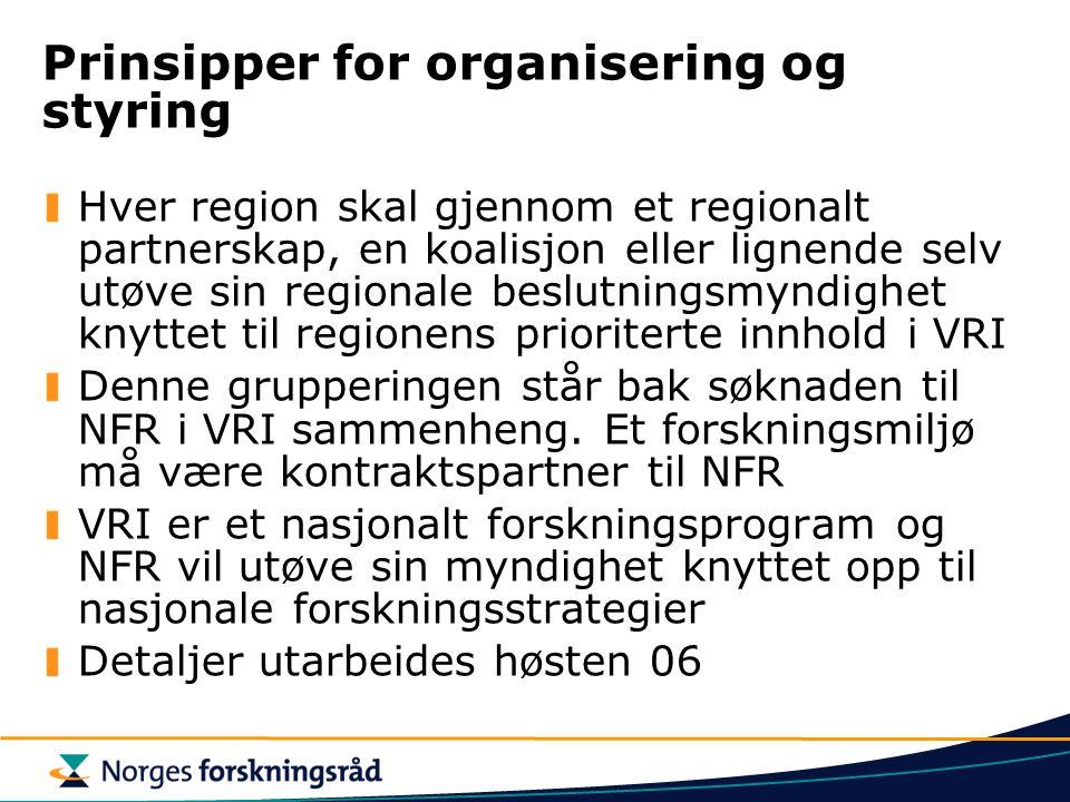 Prinsipper for organisering og styring Hver region skal gjennom et regionalt partnerskap, en koalisjon eller lignende selv utøve sin regionale beslutn