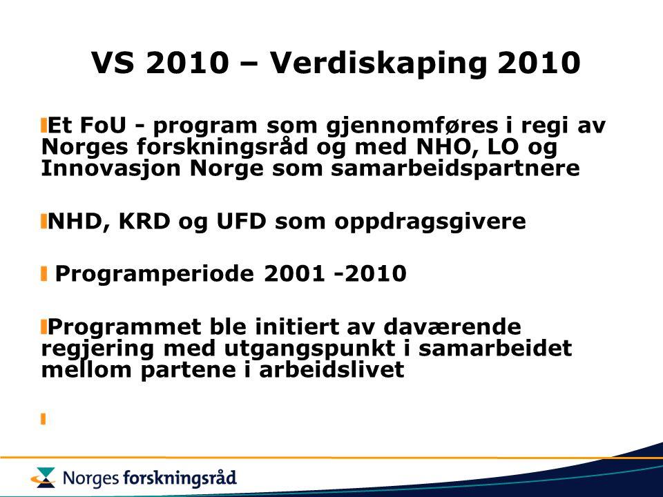 VS 2010 – Verdiskaping 2010 Et FoU - program som gjennomføres i regi av Norges forskningsråd og med NHO, LO og Innovasjon Norge som samarbeidspartnere