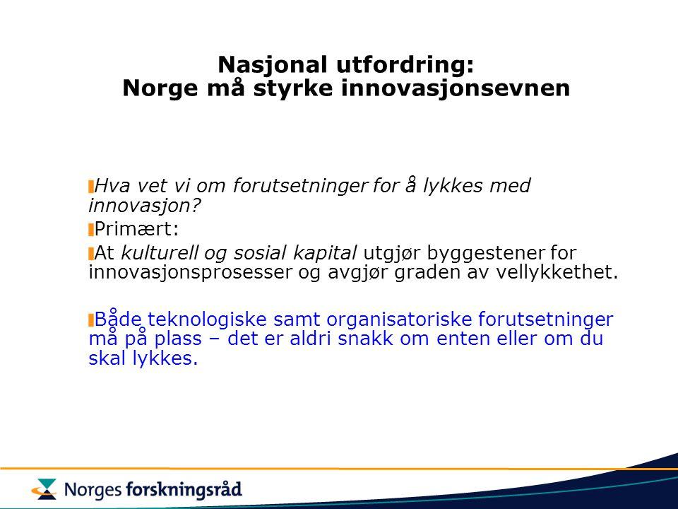 Nasjonal utfordring: Norge må styrke innovasjonsevnen Hva vet vi om forutsetninger for å lykkes med innovasjon? Primært: At kulturell og sosial kapita