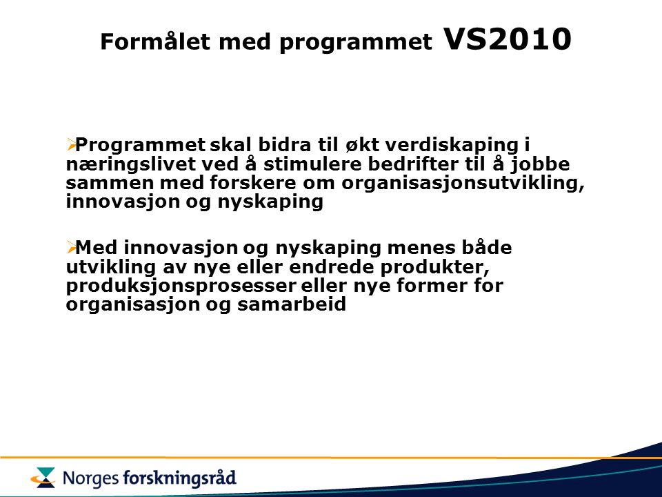 Formålet med programmet VS2010  Programmet skal bidra til økt verdiskaping i næringslivet ved å stimulere bedrifter til å jobbe sammen med forskere o