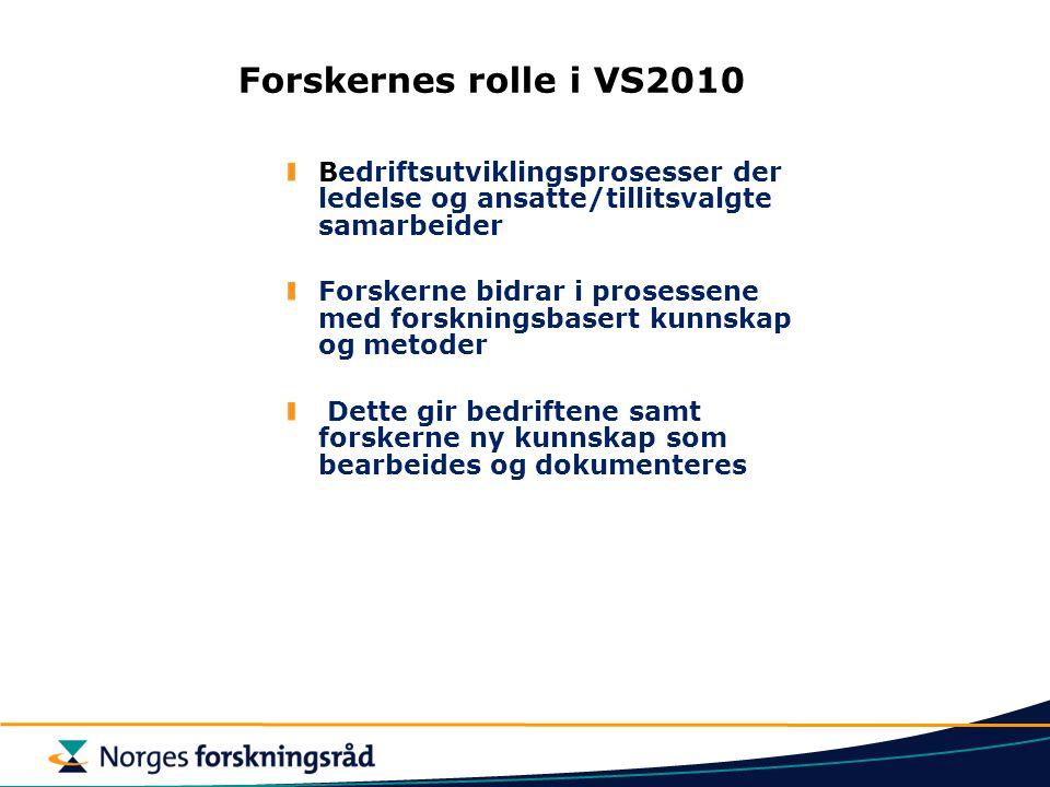 Forskernes rolle i VS2010 Bedriftsutviklingsprosesser der ledelse og ansatte/tillitsvalgte samarbeider Forskerne bidrar i prosessene med forskningsbas