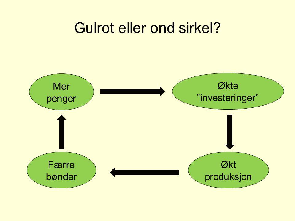 """Gulrot eller ond sirkel? Mer penger Økte """"investeringer"""" Økt produksjon Færre bønder"""