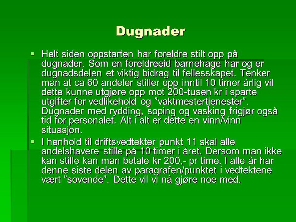 Dugnader  Styret foreslår følgende: Det avholdes lagdugnader og en felles dugnad på våren før 17.