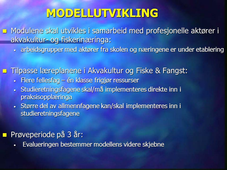 MODELLUTVIKLING  Modulene skal utvikles i samarbeid med profesjonelle aktører i akvakultur- og fiskerinæringa: • arbeidsgrupper med aktører fra skole