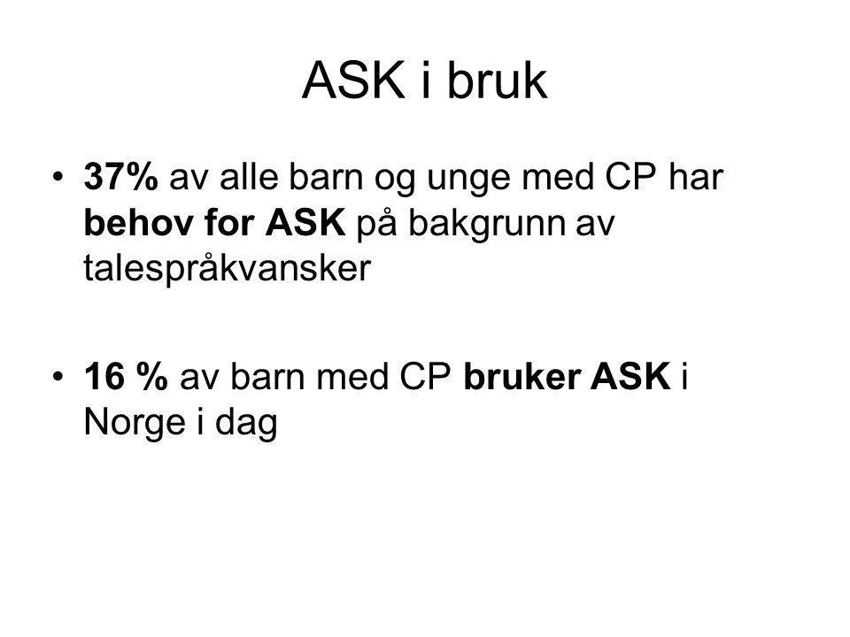 ASK i bruk •37% av alle barn og unge med CP har behov for ASK på bakgrunn av talespråkvansker •16 % av barn med CP bruker ASK i Norge i dag