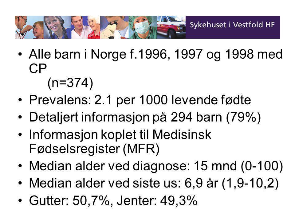 •Alle barn i Norge f.1996, 1997 og 1998 med CP (n=374) •Prevalens: 2.1 per 1000 levende fødte •Detaljert informasjon på 294 barn (79%) •Informasjon koplet til Medisinsk Fødselsregister (MFR) •Median alder ved diagnose: 15 mnd (0-100) •Median alder ved siste us: 6,9 år (1,9-10,2) •Gutter: 50,7%, Jenter: 49,3%
