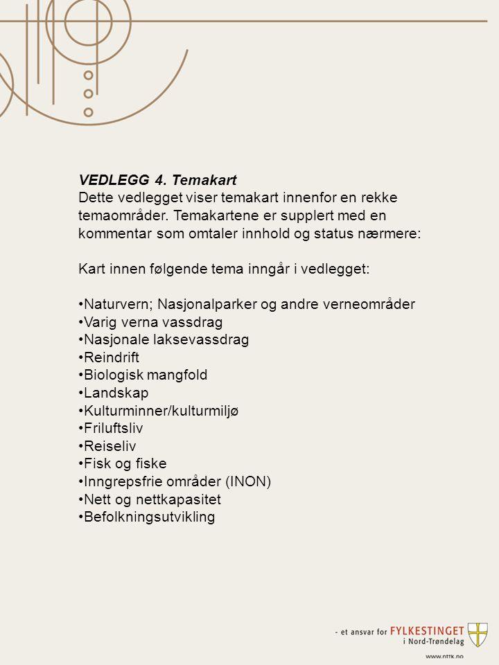 VEDLEGG 4. Temakart Dette vedlegget viser temakart innenfor en rekke temaområder. Temakartene er supplert med en kommentar som omtaler innhold og stat