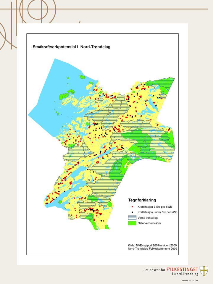 Oppsummering: Realistisk potensial for småkraft i Nord- Trøndelag vil variere knytta til konkrete utbyggingsvurderinger, kostnadsforhold og økonomiske rammebetingelser.