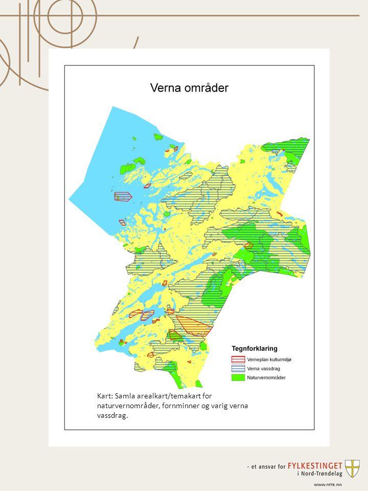 Kart: Samla arealkart/temakart for naturvernområder, fornminner og varig verna vassdrag.