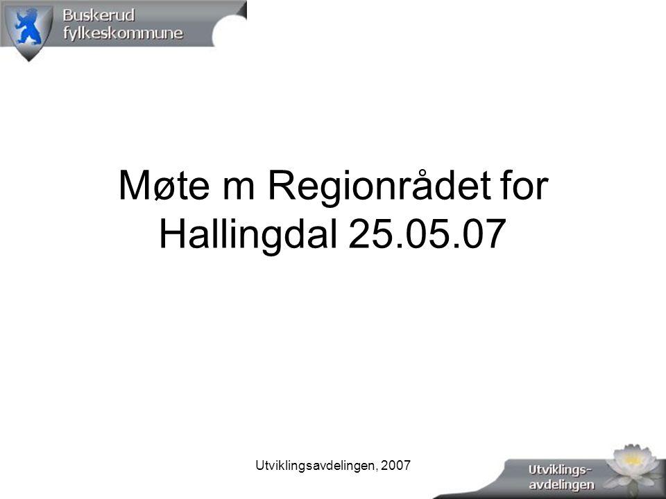 Utviklingsavdelingen, 20071 Møte m Regionrådet for Hallingdal 25.05.07