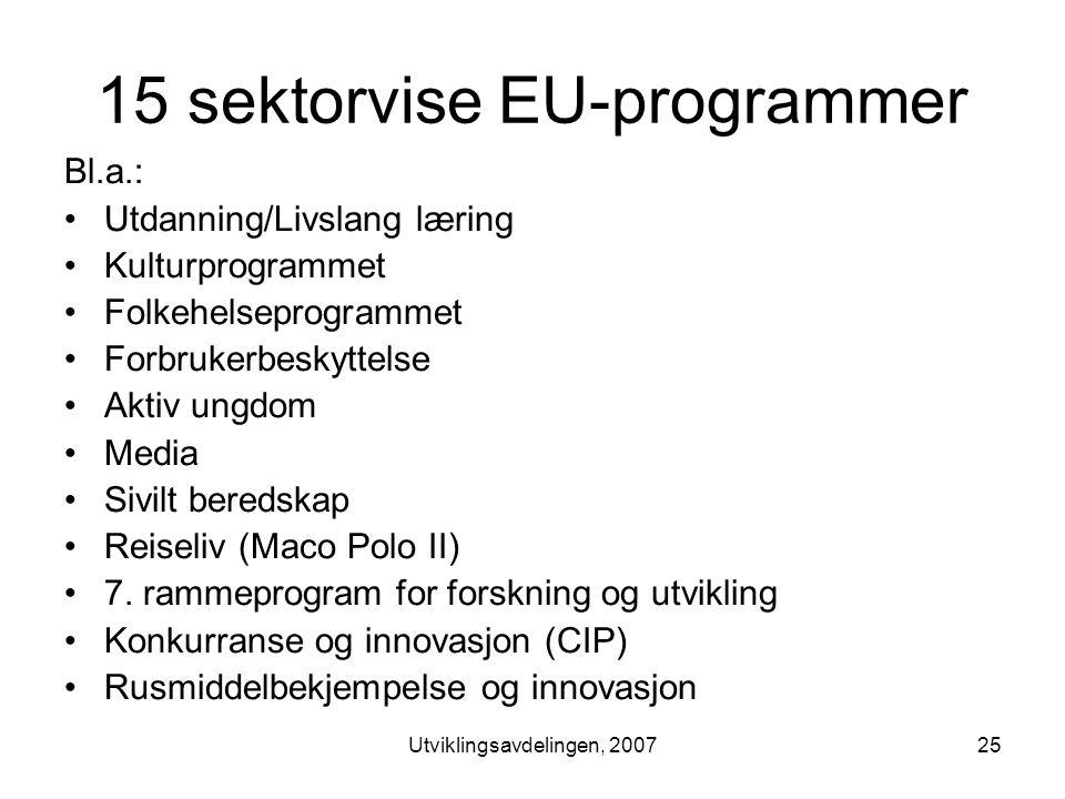 Utviklingsavdelingen, 200725 15 sektorvise EU-programmer Bl.a.: •Utdanning/Livslang læring •Kulturprogrammet •Folkehelseprogrammet •Forbrukerbeskyttelse •Aktiv ungdom •Media •Sivilt beredskap •Reiseliv (Maco Polo II) •7.