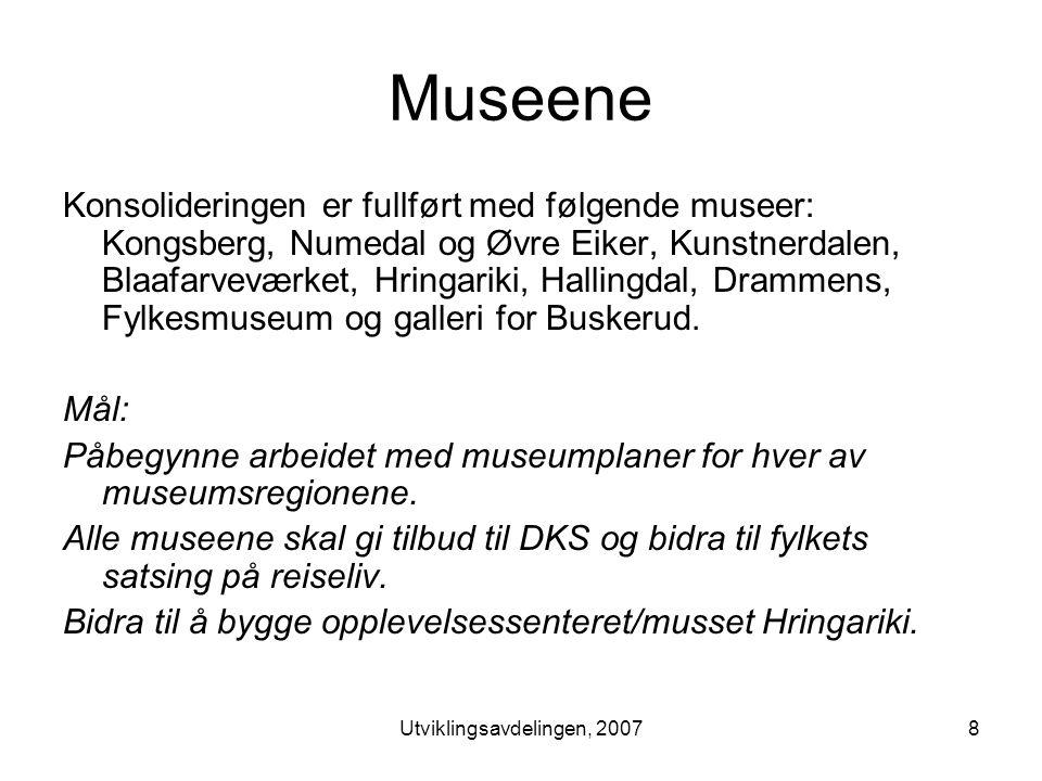 Utviklingsavdelingen, 20078 Museene Konsolideringen er fullført med følgende museer: Kongsberg, Numedal og Øvre Eiker, Kunstnerdalen, Blaafarveværket, Hringariki, Hallingdal, Drammens, Fylkesmuseum og galleri for Buskerud.