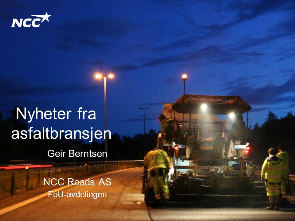 NCC Roads AS2014-06-2312 Reduksjon av CO 2 i asfaltbransjen •CO 2 -utslipp fra asfaltfabrikkene skal reduseres med 10 % i løpet av 2008 og 2009 •Fokus på: –Forbruk av energi –Utslipp av CO 2 •Energibærere