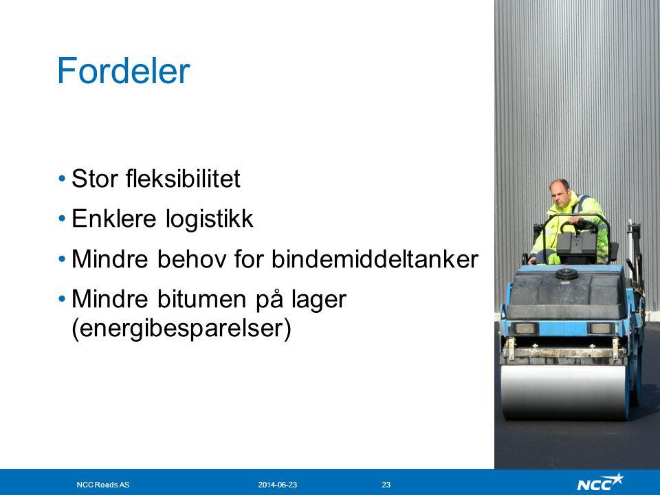 NCC Roads AS2014-06-2323 Fordeler •Stor fleksibilitet •Enklere logistikk •Mindre behov for bindemiddeltanker •Mindre bitumen på lager (energibesparels