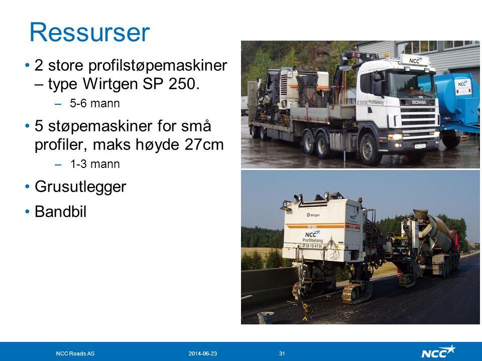 NCC Roads AS2014-06-2331 Ressurser •2 store profilstøpemaskiner – type Wirtgen SP 250. –5-6 mann •5 støpemaskiner for små profiler, maks høyde 27cm –1