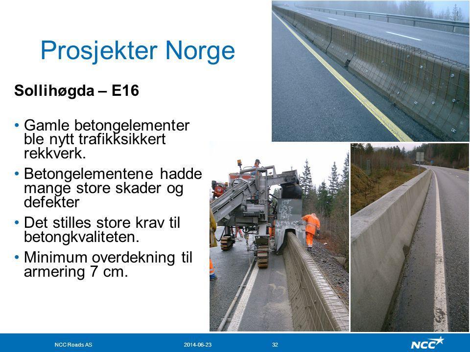 NCC Roads AS2014-06-2332 Prosjekter Norge Sollihøgda – E16 •Gamle betongelementer ble nytt trafikksikkert rekkverk. •Betongelementene hadde mange stor