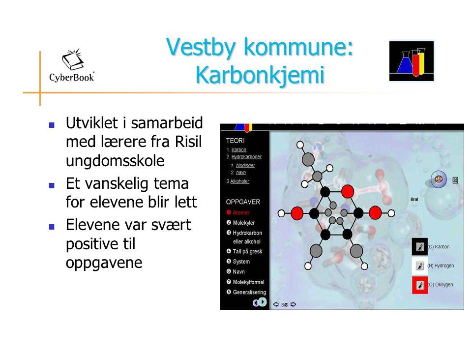 Vestby kommune: Karbonkjemi  Utviklet i samarbeid med lærere fra Risil ungdomsskole  Et vanskelig tema for elevene blir lett  Elevene var svært positive til oppgavene
