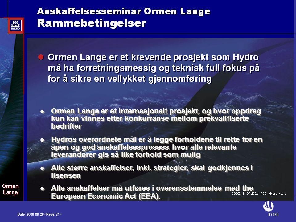 Date: 2006-09-28 • Page: 21 •  Ormen Lange er et internasjonalt prosjekt, og hvor oppdrag kun kan vinnes etter konkurranse mellom prekvalifiserte bed