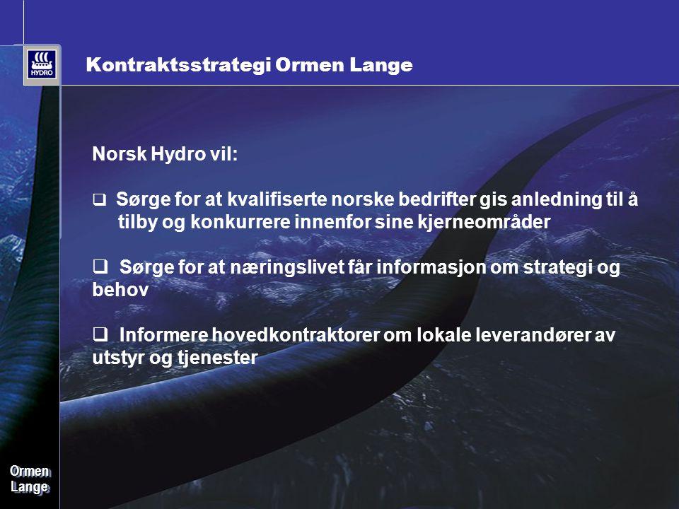 Date: 2006-09-28 • Page: 22 • OrmenLangeOrmenLange Kontraktsstrategi Ormen Lange Norsk Hydro vil:  Sørge for at kvalifiserte norske bedrifter gis anl