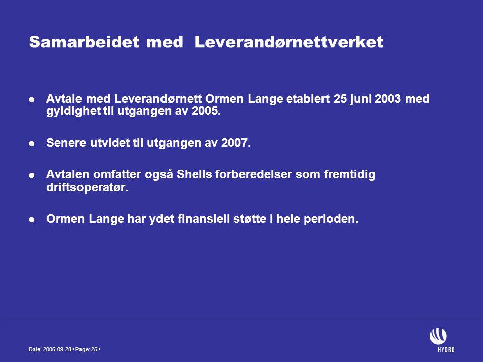 Date: 2006-09-28 • Page: 25 • Samarbeidet med Leverandørnettverket  Avtale med Leverandørnett Ormen Lange etablert 25 juni 2003 med gyldighet til utg