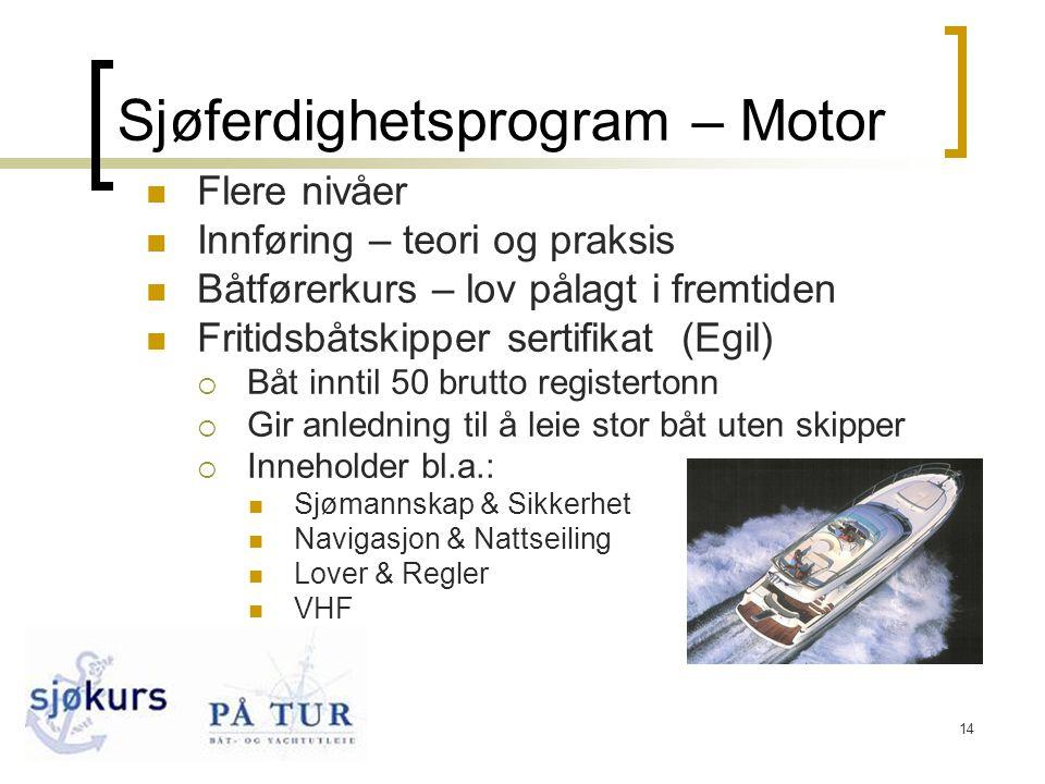 14 Sjøferdighetsprogram – Motor  Flere nivåer  Innføring – teori og praksis  Båtførerkurs – lov pålagt i fremtiden  Fritidsbåtskipper sertifikat (