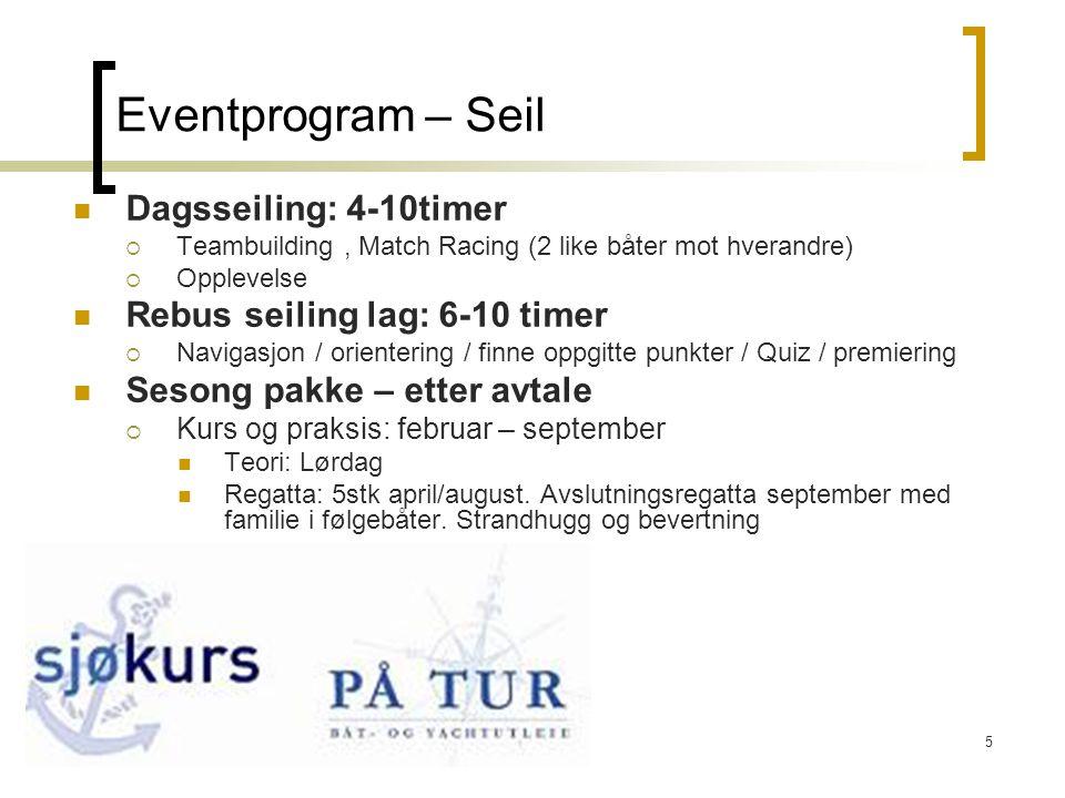 5 Eventprogram – Seil  Dagsseiling: 4-10timer  Teambuilding, Match Racing (2 like båter mot hverandre)  Opplevelse  Rebus seiling lag: 6-10 timer