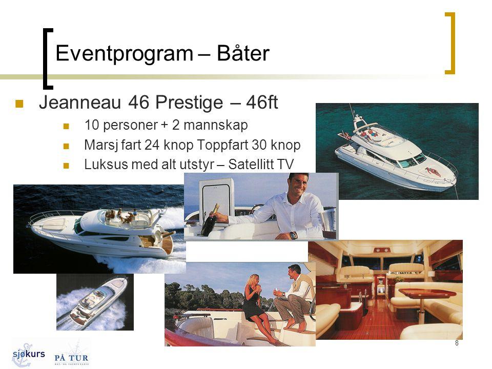 8 Eventprogram – Båter  Jeanneau 46 Prestige – 46ft  10 personer + 2 mannskap  Marsj fart 24 knop Toppfart 30 knop  Luksus med alt utstyr – Satellitt TV