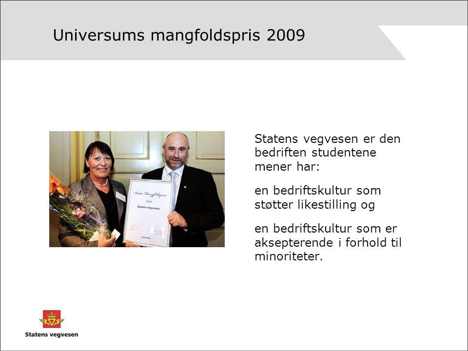 Universums mangfoldspris 2009 Statens vegvesen er den bedriften studentene mener har: en bedriftskultur som støtter likestilling og en bedriftskultur