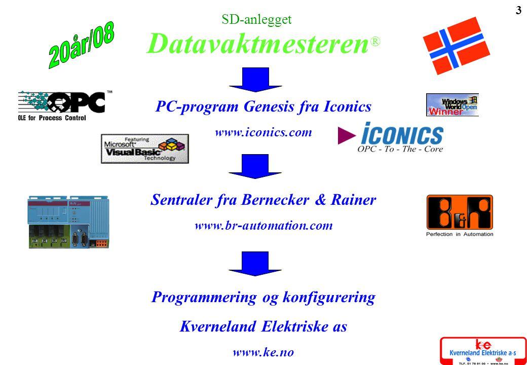 3 PC-program Genesis fra Iconics www.iconics.com Sentraler fra Bernecker & Rainer www.br-automation.com Programmering og konfigurering Kverneland Elek
