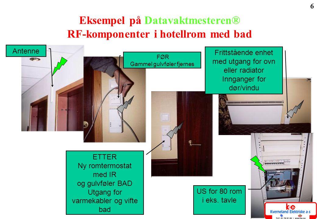 6 Eksempel på Datavaktmesteren® RF-komponenter i hotellrom med bad Antenne ETTER Ny romtermostat med IR og gulvføler BAD Utgang for varmekabler og vif