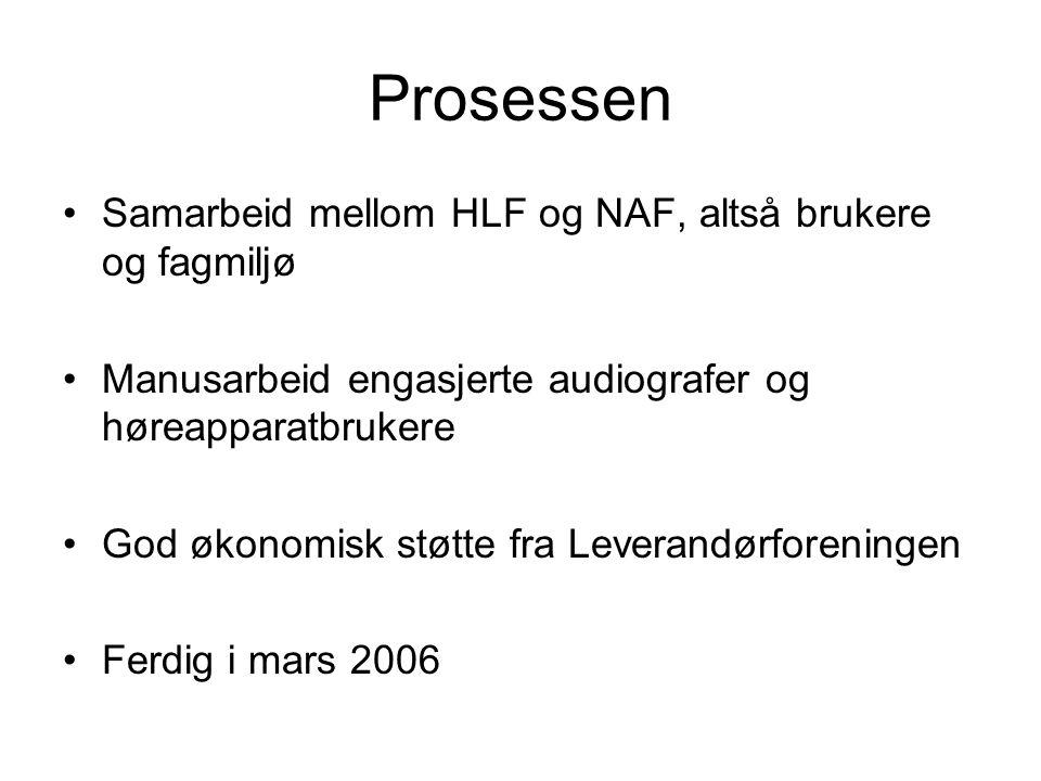 Prosessen •Samarbeid mellom HLF og NAF, altså brukere og fagmiljø •Manusarbeid engasjerte audiografer og høreapparatbrukere •God økonomisk støtte fra Leverandørforeningen •Ferdig i mars 2006