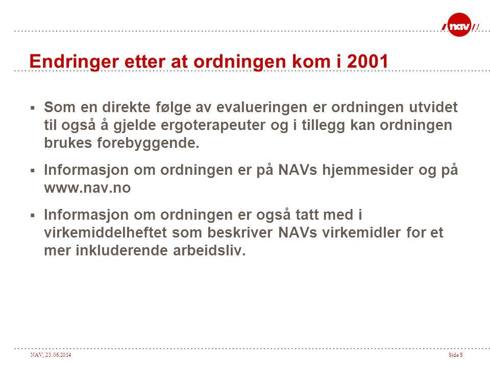 NAV, 23.06.2014Side 9 Forholdet til andre virkemidler  Etter at ordningen med arbeidsplassvurdering trådte i kraft, har vi som kjent fått IA-avtalen med de økonomiske virkemidlene den stiller til rådighet for IA-virksomheter.