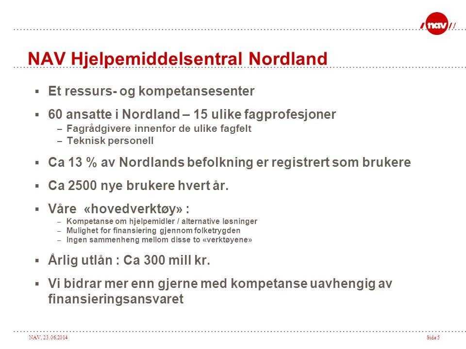 NAV, 23.06.2014Side 5 NAV Hjelpemiddelsentral Nordland  Et ressurs- og kompetansesenter  60 ansatte i Nordland – 15 ulike fagprofesjoner – Fagrådgivere innenfor de ulike fagfelt – Teknisk personell  Ca 13 % av Nordlands befolkning er registrert som brukere  Ca 2500 nye brukere hvert år.