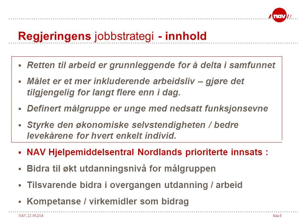 NAV, 23.06.2014Side 8 Regjeringens jobbstrategi - innhold  Retten til arbeid er grunnleggende for å delta i samfunnet  Målet er et mer inkluderende arbeidsliv – gjøre det tilgjengelig for langt flere enn i dag.