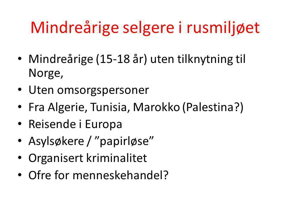 Mindreårige selgere i rusmiljøet • Mindreårige (15-18 år) uten tilknytning til Norge, • Uten omsorgspersoner • Fra Algerie, Tunisia, Marokko (Palestin