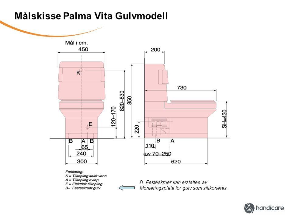 Målskisse Palma Vita Gulvmodell B=Festeskruer kan erstattes av Monteringsplate for gulv som silikoneres