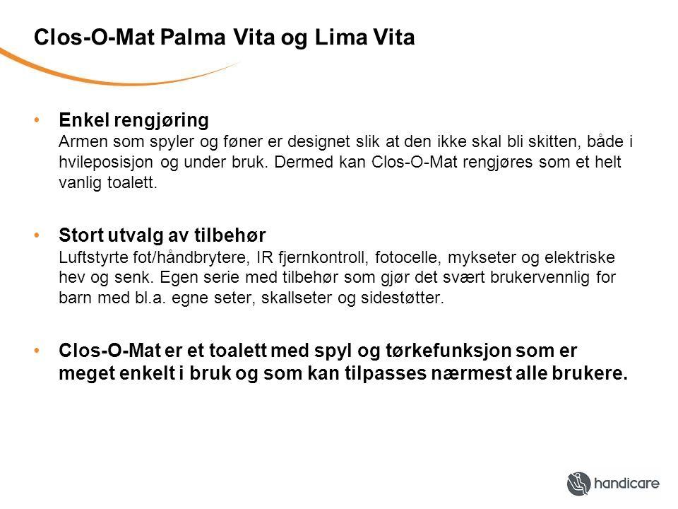 Clos-O-Mat Palma Vita og Lima Vita •Enkel rengjøring Armen som spyler og føner er designet slik at den ikke skal bli skitten, både i hvileposisjon og under bruk.