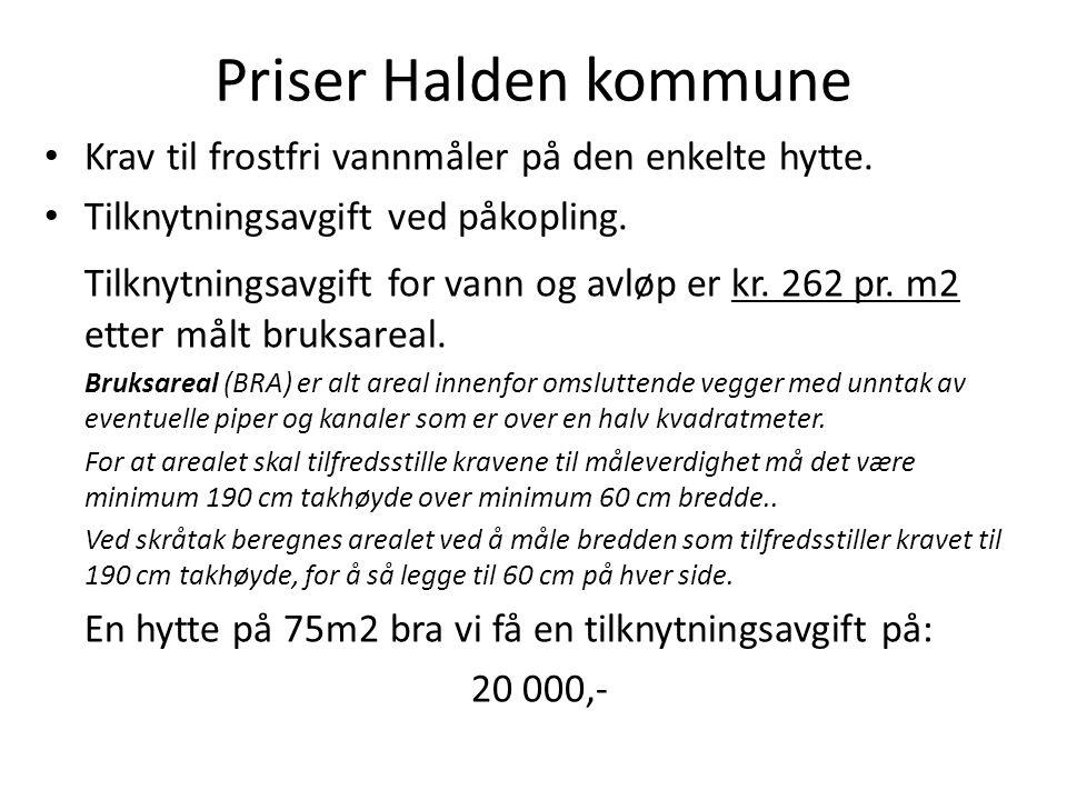Priser Halden kommune • Krav til frostfri vannmåler på den enkelte hytte. • Tilknytningsavgift ved påkopling. Tilknytningsavgift for vann og avløp er