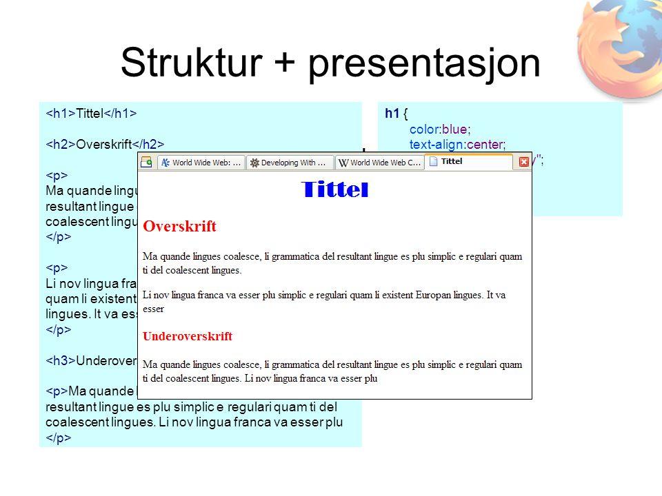 Struktur + presentasjon Tittel Overskrift Ma quande lingues coalesce, li grammatica del resultant lingue es plu simplic e regulari quam ti del coalescent lingues.