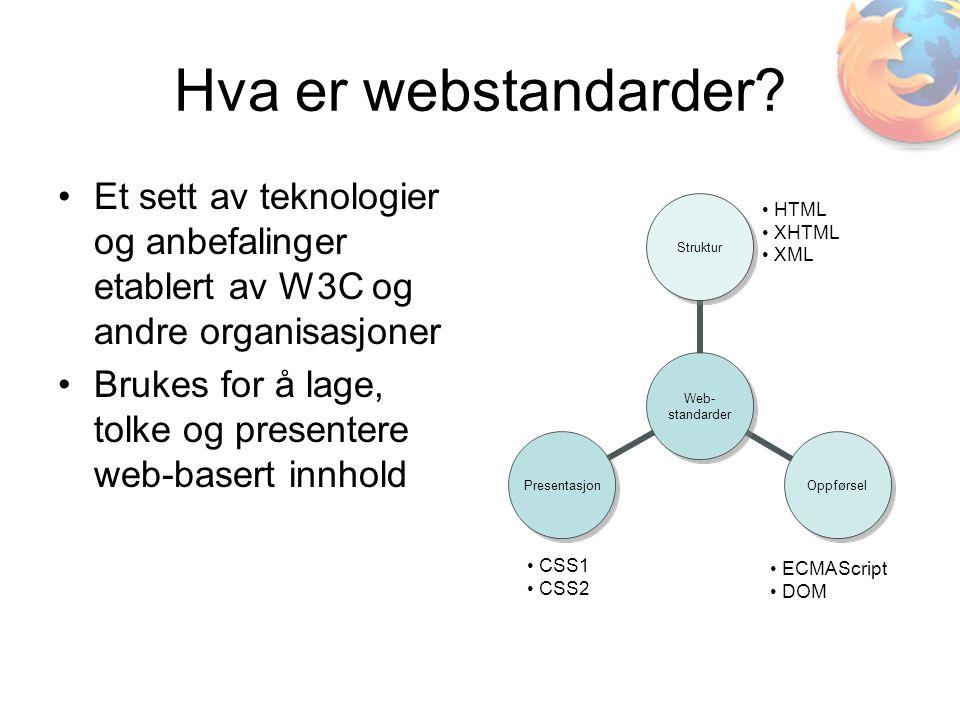 Hva er webstandarder? •Et sett av teknologier og anbefalinger etablert av W3C og andre organisasjoner •Brukes for å lage, tolke og presentere web-base