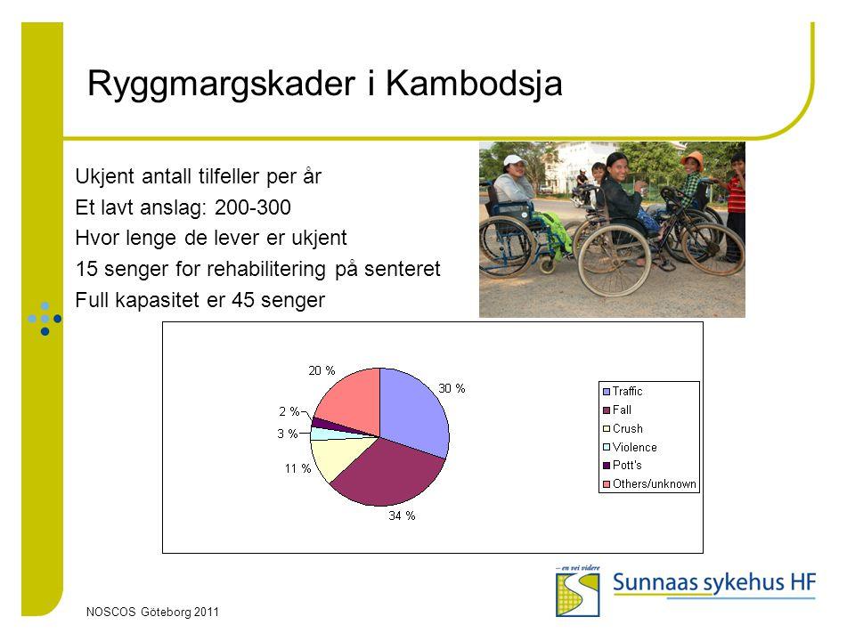 NOSCOS Göteborg 2011 Ryggmargskader i Kambodsja Ukjent antall tilfeller per år Et lavt anslag: 200-300 Hvor lenge de lever er ukjent 15 senger for reh