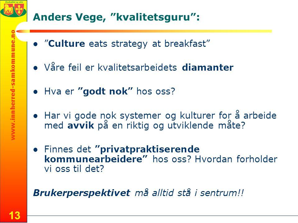 www.innherred-samkommune.no 13 Anders Vege, kvalitetsguru :  Culture eats strategy at breakfast  Våre feil er kvalitetsarbeidets diamanter  Hva er godt nok hos oss.