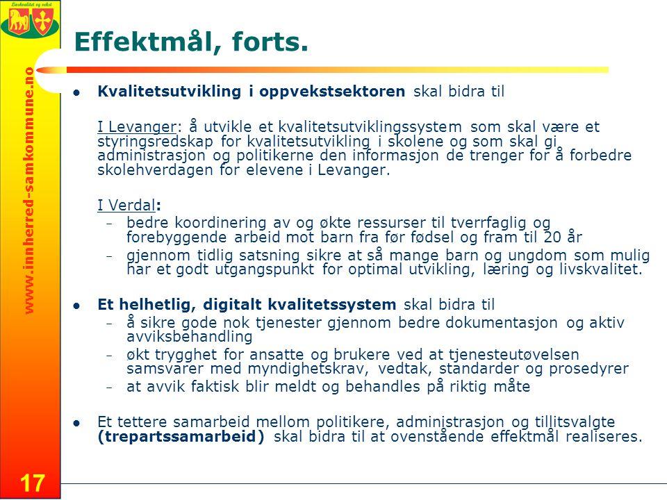 www.innherred-samkommune.no 17 Effektmål, forts.